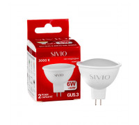 Светодиодная лампа 6вт sivio теплая белая GU5.3 3000K MR16