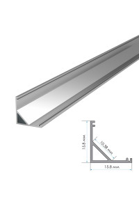 Комплект алюминиевого профиля угловой ПФ-9 накладной полуматовый рассеиватель 2м