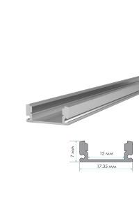 Алюминиевый профиль ПФ-15 накладной полуматовый рассеиватель (комплект) 1м