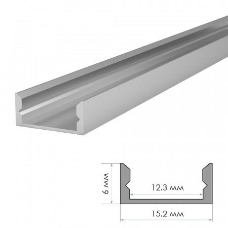 Купить Алюминиевый профиль накладной ПФ-18 + рассеиватель (комплект) 2м