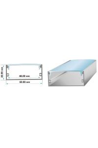 Комплект алюминиевого профиля ПФ-27 широкий накладной полуматовый рассеиватель (комплект) 2м